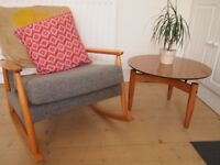 vintage retro round 'floating' formica coffee table