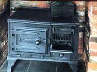 Old black range oven
