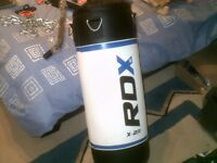 RDX punchbag (never used) Child sized complete with wall and ceiling brackets and accessories.