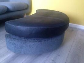 DFS BLACK & CHARCOAL HALF MOON FOOTSTOOL ONLY 18 MONTHS OLD LIKE NEW