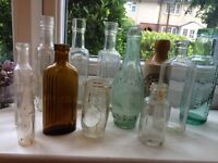 Selection of old glass bottles, daddies sauce ,, jeyes , Ive brothers, , oxo , quirky perfume also