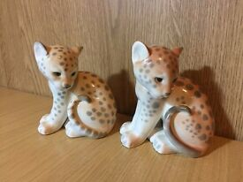 2 Lomonosov Porcelain Baby Cheetah