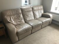 3 and 2 seater leather reclining sofa