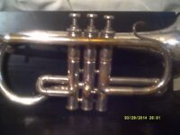 A CORNET , IN SILVER PLATE , A LOVELY OLD SALVATION ARMY INSTRUMENT ++++++++