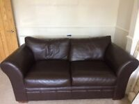 Beautiful very comfortable Next Brown Leather 2/3 seater sofa