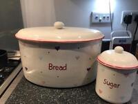 Bhs cup cake breadcrock & sugar pot