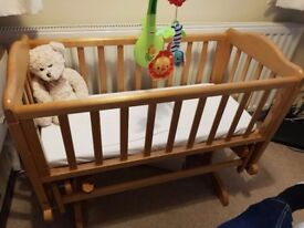 Wooden Baby Swing Crib and mattress.