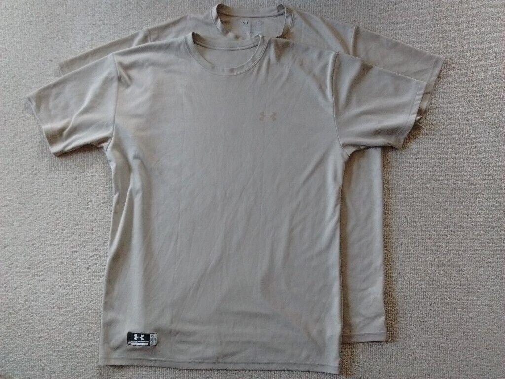 1935942ba2 Two Men's Under Armour® Tactical HeatGear® Loose Fit Short Sleeve T-Shirt.  Size: 1x medium 1x large.