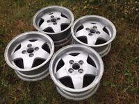 "Fondmetal 15"" 4x114.3 7j alloy wheels. Deep dish. Classic original, not borbet, lenso, bbs TM"