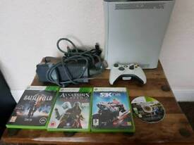 Xbox360, one controller, 4 games, all wires