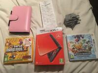 New Nintendo 3DS XL Orange & Black Edition + 2 3DS Games + case + Charger