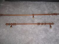 Wood curtain poles with Fittings and Rings