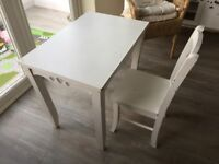 White wooden child's girls table and chair with heart cut out detail needs TLC usable