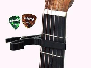 Black Capo with 2 picks for Acoustic guitars and Electric guitars