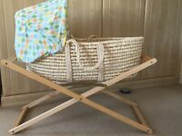 Mothercare Moses basket, mattress, 2 x bottom sheets and stand