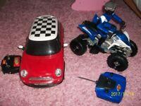remote quad bike and remote mini cooper car - used once