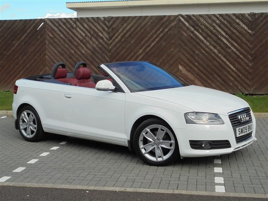 stunning white audi a3 cabriolet sport 3dr in white with red leather in coatbridge. Black Bedroom Furniture Sets. Home Design Ideas