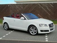 Stunning white Audi A3 2.0tdi Sport Cabriolet 3dr in white with red laether