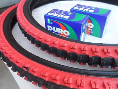 26x1 95 black red bicycle knobby tires