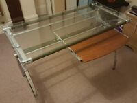 Glass Desk with Keyboard Tray