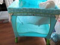 brand new travel cot with accessories and extra thick matress