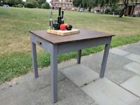 Vintage rustic farmhouse kitchen/dining table/desk. Warm grey shabby chic.