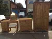 Double Wardrobe, chest of drawers, dressing table and mirror £150