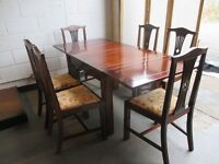 VINTAGE JAMES LAIRD MAHOGANY EXTENDING DINING TABLE WITH SIX MATCHING DINING CHAIRS FREE DELIVERY