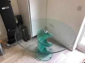 Large clear twisty/ twisted glass table