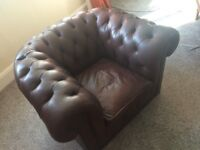 Chesterfield Armchair sofa - mahogany deep red leather vintage lovely slightly worn condition!