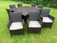 8 Seater Black Rattan Dining Set