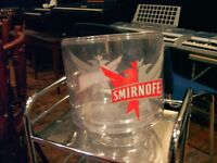 ICE BUCKET WITH SMIRNOFF LOGO. LARGE SIZE IN CLEAR PERSPEX.