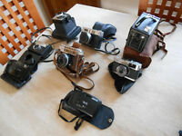 BOX OF ASSORTED VINTAGE CAMERAS