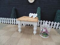 ABSOLUTELY STUNNING SOLID PINE FARMHOUSE COFFEE TABLE PAINTED WITH LAURA ASHLEY PALE DOVE
