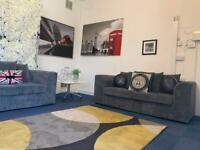 Grey cord sofa set. As new condition. Delivery available.