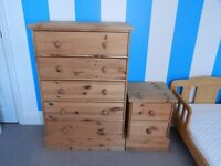 Chest of 5 Drawers and Bedside Cabinet