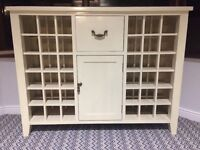 Cream solid wood wine rack with granite top