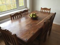 Solid Wood Rustic Dining Table and 6 Chairs
