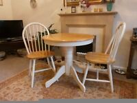 Wooden Circular Table with 2 chairs - excellent condition