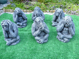3 wise monkeys garden ornaments £15