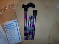 "Patterson Folding Coloured Walking Stick RAINBOW PRINT Height 33""-37"" NEW"
