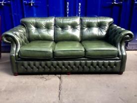 🔥IMMACULATE🔥 chesterfield 3 seater antique genuine leather sofa vintage quality green