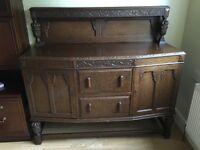 1920's antique dark wood sideboard