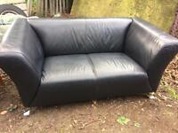 Black leather 3 seater & 3 seater