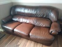 3 seater brown leather sofa with 2 armchairs
