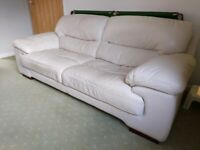 Italian cream leather sofa