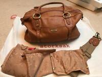 Storksak Elizabeth tanned change bag or nappy bag