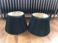 Pair of green tartan accordion pleated lamp shades