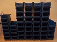 Blue plastic parts bins / Small component storage boxes - 3 sizes, 48 in total