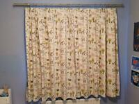 Pair of John Lewis Farmyard Nursery/Children's Room Blackout Curtains w. Brushed Steel Pole & Rings